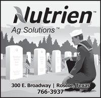 NutrienTMAg Solutions TMTrrrr frrTrrrr TrTrrrTrrrTerer ierTrrrr frrrfrerr fr300 E. Broadway | Roscoe, Texas766-3937 Nutrien TM Ag Solutions  TM Trrrr frr Trrrr Tr Trrr Trrr Terer ier Trrrr frrr frerr fr 300 E. Broadway | Roscoe, Texas 766-3937