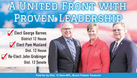 A UNITED FRONT WITHPROVEN LEADERSHIPElect George BarnesDistrict 12 HouseElect Pam MuslandDist. 12 HouseA Re-Elect John GrabingerDist. 12 SenatePaid for by Dist. 12 Dem-NPL, Brock Fietzek Treasurer A UNITED FRONT WITH PROVEN LEADERSHIP Elect George Barnes District 12 House Elect Pam Musland Dist. 12 House A Re-Elect John Grabinger Dist. 12 Senate Paid for by Dist. 12 Dem-NPL, Brock Fietzek Treasurer