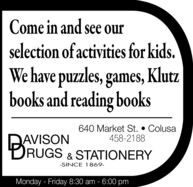 Come in and see ourselection of activities for kids.We have puzzles, games, Klutzbooks and reading books640 Market St.  Colusa458-2188AVISONRUGS & STATIONERY-SINCE 1869-Monday - Friday 8:30 am - 6:00 pm Come in and see our selection of activities for kids. We have puzzles, games, Klutz books and reading books 640 Market St.  Colusa 458-2188 AVISON RUGS & STATIONERY -SINCE 1869- Monday - Friday 8:30 am - 6:00 pm