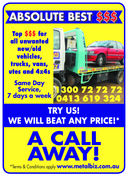 ABSOLUTE BEST $$$Top $$$ forall unwantednew/oldvehicles,trucks, vans,utes and 4x4sSame DayService,7 days a week1300 72 72 720413 619 324TRY US!WE WILL BEAT ANY PRICE!*A CALLAWAY!*Terms & Conditions apply www.metalbiz.com.au