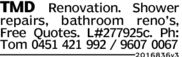 TMD Renovation. Showerrepairs, bathroom reno's,Free Quotes. L#277925c. Ph:Tom 0451 421 992 / 9607 00672016836v3