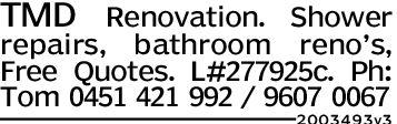 TMD Renovation. Showerrepairs, bathroomreno's,Free Quotes. L#277925c. Ph:Tom 0451 421 992 9607 00672003493