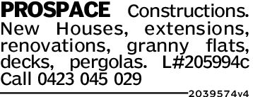 PROSPACE Constructions.New Houses, extensions,renovations, granny flats,decks, pergolas. L#205994cCall 0423 045 0292039574 4