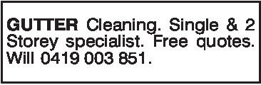 GUTTER Cleaning. Single & 2Storey specialist. Free quotesWill 0419 003 851