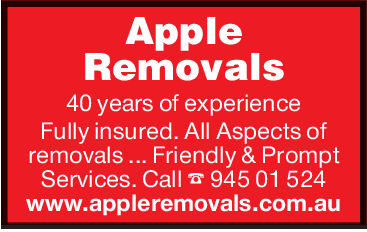 AppleRemovals40 years of experienceFully insured. All Aspects ofremovals . Friendly & Promptservices. Call 94501 524www.appleremovals.com.au