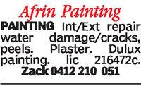 Afrin PaintingPAINTING Int/Ext repairwater damage/cracks,peels. Plaster. Duluxpainting. lic 216472c.0412 210 051