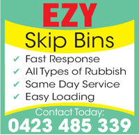 EZYSkip BinsFast ResponseAll Types of RubbishSame Day ServiceEasy LoadingContact Today:0423 485 339