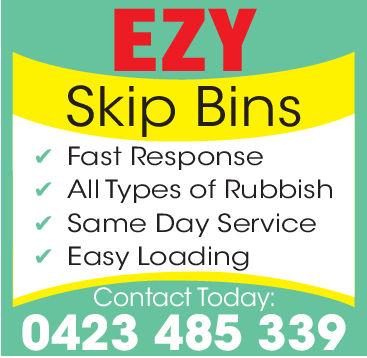 EZYSkip BinsFast ResponseAll Types of RubbishSame Day ServiceEasy LoadingContact Today:0423 485 339