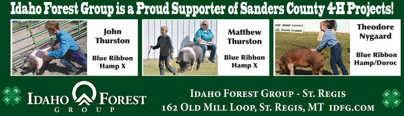 Idaho Forest Group is a Proud Supporter of Sanders County 4HProjects!TheodoreNygaardBlue RibbonHamp/DurocJohnThurstonMatthewThurstonBlue RibbonHamp XBlue RibbonHamp XIDAHO FORESTG R O UPIDAHo FOREST GROUP ST. REGIs162 OLD MILL LooP, St. REgIs, MT IDFG.COM