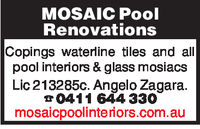 MOSAIC PoolRenovationsCopings waterline tiles and allpool interiors & glass mosiacsLic 213285c. Angelo Zagara.0411 644 330mosaicpoolinteriors.com.au