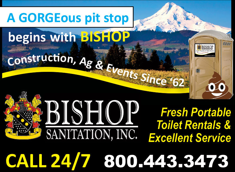 A GORGEous pit stopbegins with BISHOPruction,uction, Ag & Events Since 62S Since 620BISOFresh PortableToilet Rentals &SANITATION, INC. Excellent ServiceCALL 24/7 800.443.3473