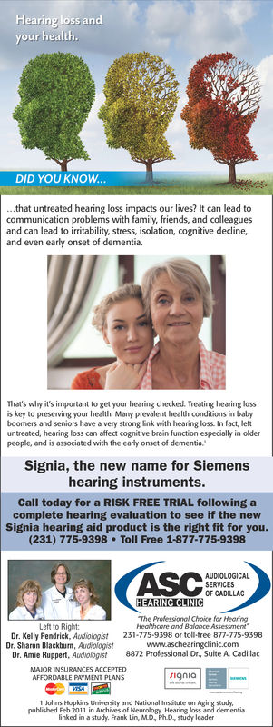 Flearing loss andour healthDID YOU KNOW...that untreated hearing loss impacts our lives? It can lead tocommunication problems with family, friends, and colleaguesand can lead to iritability, stress, isolation, cognitive declineand even early onset of dementia.That's why it's important to get your hearing checked. Treating hearing lossis key to preserving your health, Many prevalent health conditions in babyboomers and seniors have a very strong link with hearing loss. In fact, leftuntreated, hearing loss can affect cognitive brain function especially in olderpeople, and is associated with the early onset of dementia.Signia, the new name for Siemenshearing instruments.Call today for a RISK FREE TRIAL following acomplete hearing evaluation to see if the newSignia hearing aid product is the right fit for you.(231) 775-9398 Toll Free 1-877-775-9398reasAUDIOLOGICALOF CADILLAHEARING CLINICThe Professionol Choice for HearingHealthcore and Balance AssessmentLeft to Right:Dr. Kelly Pendrick, Audiologist 231-775 9398 or toll-free 877-775-9398Dr. Sharon Blackbum, Audiologistwww.aschearingclinic.comDr. Amie Ruppert, Audliologist 8872 Professional Dr, Suite A, CadillacMAJOR INSURANCES ACCEPTEDAFFORDABLE PAYMENT PLANS9niaJohns Hopkins University and National Insbitute on Aging study.published Feb.2011 in Archives of Neurology. Hearing loss and dementislinked in a study. Frank Lin, M.D, PhD, study leader
