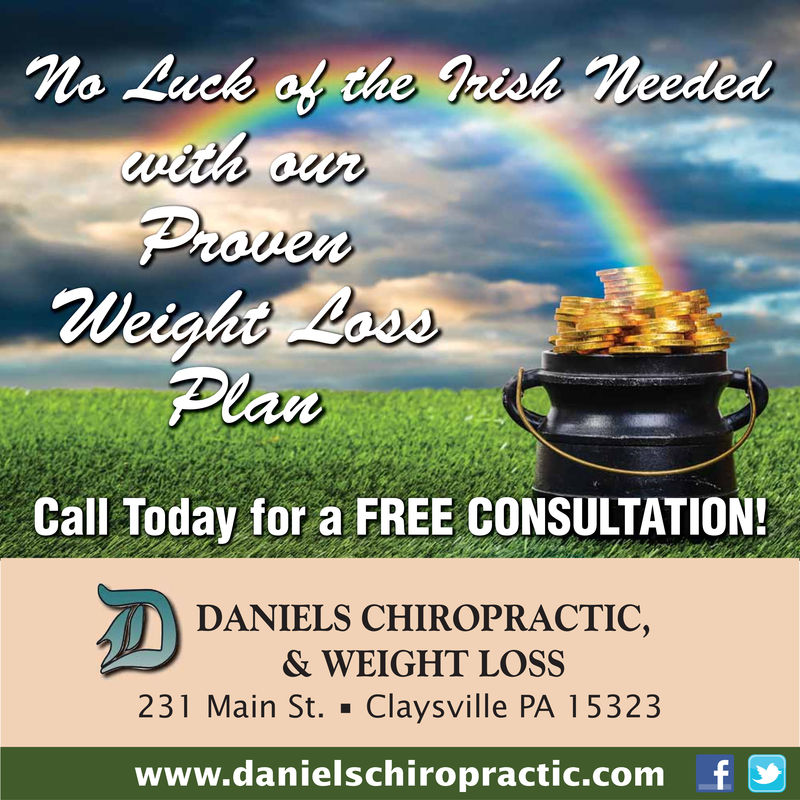 Call Today for a FREE CONSULTATIONDANIELS CHIROPRACTIC,& WEIGHT LOSS231 Main St. . Claysville PA 15323www.danielschiropractic.comf