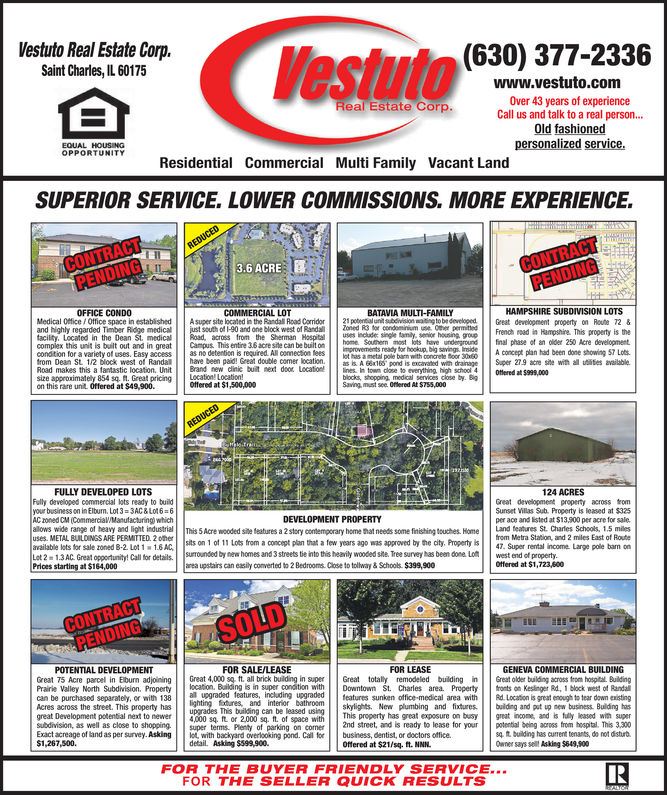 Vestuto Real Estate Corp.Saint Charles, IL 60175(630) 377-2336www.vestuto.comOver 43 years of experienceCall us and talk to a real person...Old fashionedpersonalized service.Real Estate Corp.EQUAL HOUsiNgOPPORTUNITYResidential Commercial Multi Family Vacant LandSUPERIOR SERVICE. LOWER COMMISSIONS. MORE EXPERIENCE3.6 ACREEOFFICE CONDOCOMMERCIAL LOTBATAVIA MULTI-FAMILYHAMPSHIRE SUBDIVISION LOTSMedical 0ffice/Office space in establishedAsuper site located in the Randall Road Corridorand highly regarded Timber Ridge medicaltacility, Located in the Dean St. mediclpovision waiig to be developedsouth of 1-90 and one block west of Randaloed R3 for condomCO permteacross from the Sherman Hauses incluade single tamily, senior housing grouGreat develooment property on Route 72French read in Hampshire. This property is thehome Souherm most lots have undoundfinal phase of an ode 250 Acre develoomentcomplex this unit is built out and in greatCampus This entine 3.6 acre site can be built onconoition for a variety of uses. Easy access as no detention is required Al connecion reesot has a metal pole barm with concrete foor 3080from Dean St 12 lock west of Randal have been paidl Great double comer ation.A 616 pond is excavoted wit drainage Super 27.9 cre site withluties availableRoad makes this a fantastic location,UnitBrand new dinic buit next door Locatines. Iin town close to everything, high school 4size approximately 854 s4t·Greatpricingil ato, locaton!on this rare unit. Offered at $49,900.Ottered at $999,000blocks, shopping, medical services close by. BgSaving, must see. Otered At $755,000Offered at $1,500,000FULLY DEVELOPED LOTS124 ACRESFully developed commercial lots ready to buildyour business on in Elburn. Lot 3-3AC&L0t6 6AC oned CM (CommerciaW/Manufacturing) whichallows wide range of heavy and light industrialuses. METAL BUILDINGS ARE PERailabe lots for sale zoned B-2 Lot 1 16AC1Lot 2-13AC Great opportunity! detailsPrices starting at $164,000Great development property across