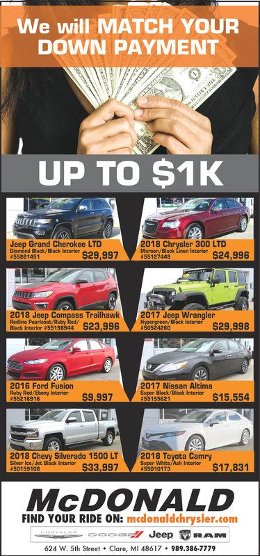 We will MATCH YOURDOWN PAYMENTUP TO $1KJeep Grand Cherokee LTDDiamond Black/Black InteriorMarmon/Black Linen Intarior $24,996hysler:300 LTDk9,997 5127448558614512018 Jeep Compass Trailhawk 2017 Jeep WranglerBack Inter 5519s4 $2926$29,9982016 Ford Fusionr$9,9972017 Nissan AltimaSuper Black Black Interior $15.5542018 Chevy Silverado 1500 LT2018 Toyota CamrySiver Ile/ let Bilác$$33,997euger Wite/Ash Interior $17,831#50159108McDoNALDFIND YOUR RIDE ON: medonaldchrysler.com624 w. 5th Street . Clare, MI 48617·989.386.7779