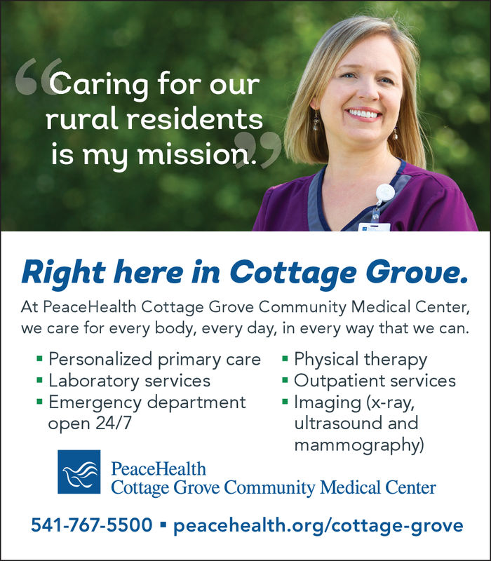 WEDNESDAY, MAY 29, 2019 Ad - PeaceHealth Cottage Grove Community Medical Center - Cottage Grove ...