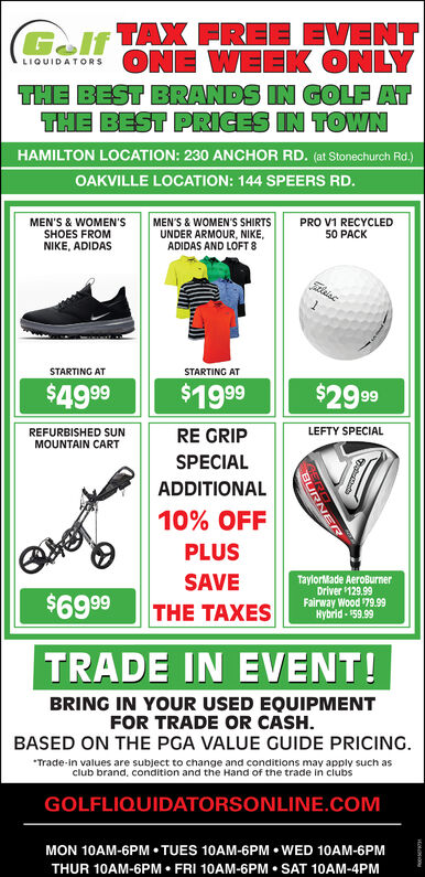 Monday August 19 2019 Ad Golf Liquidators Hamilton Spectator