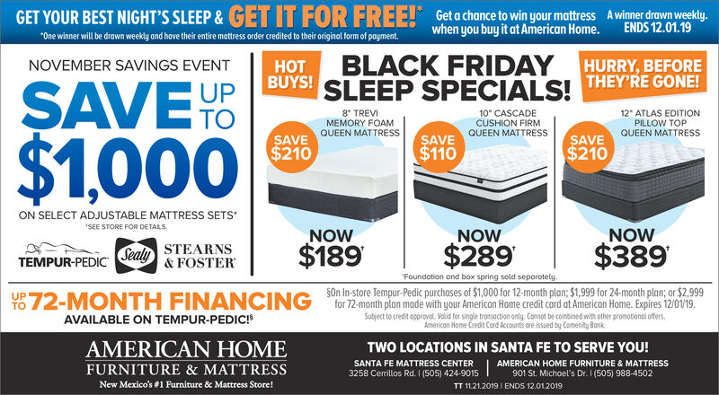 Friday November 22 2019 Ad American, American Home Furniture And Mattress Santa Fe