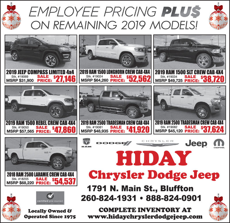 wednesday november 27 2019 ad hiday chrysler dodge jeep the news banner the news banner business directory coupons restaurants entertainment and hotels in bluffton in 46714