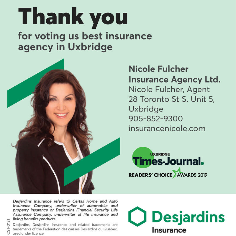 Thursday December 5 2019 Ad Desjardins Insurance Nicole Currie Uxbridge Times