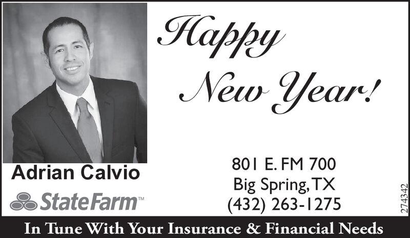 Tuesday January 7 2020 Ad Statefarm Adrian Calvio Big Spring Herald