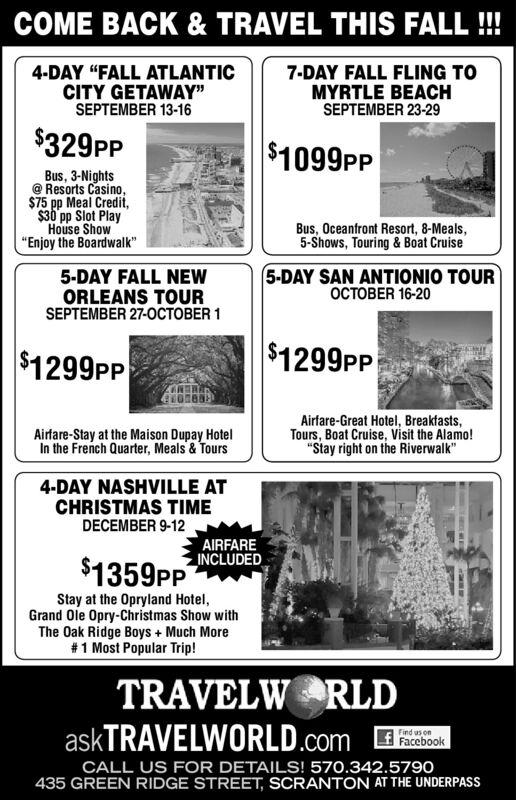 FRIDAY, MAY 15, 2020 Ad   Travelworld   Scranton   The Times Tribune