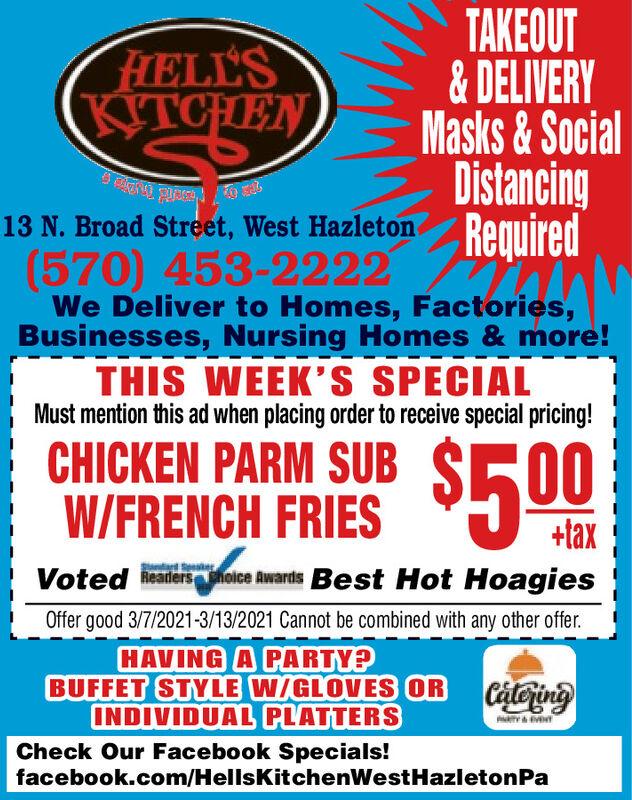 Sunday March 7 2021 Ad Hell S Kitchen West Hazleton Standard Speaker