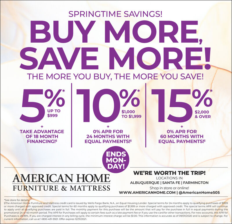 Wednesday March 31 2021 Ad American, American Home Furniture And Mattress Santa Fe