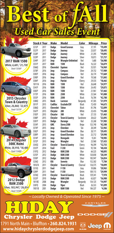 friday september 21 2018 ad hiday chrysler dodge jeep the news banner the news banner business directory coupons restaurants entertainment and hotels in bluffton in 46714
