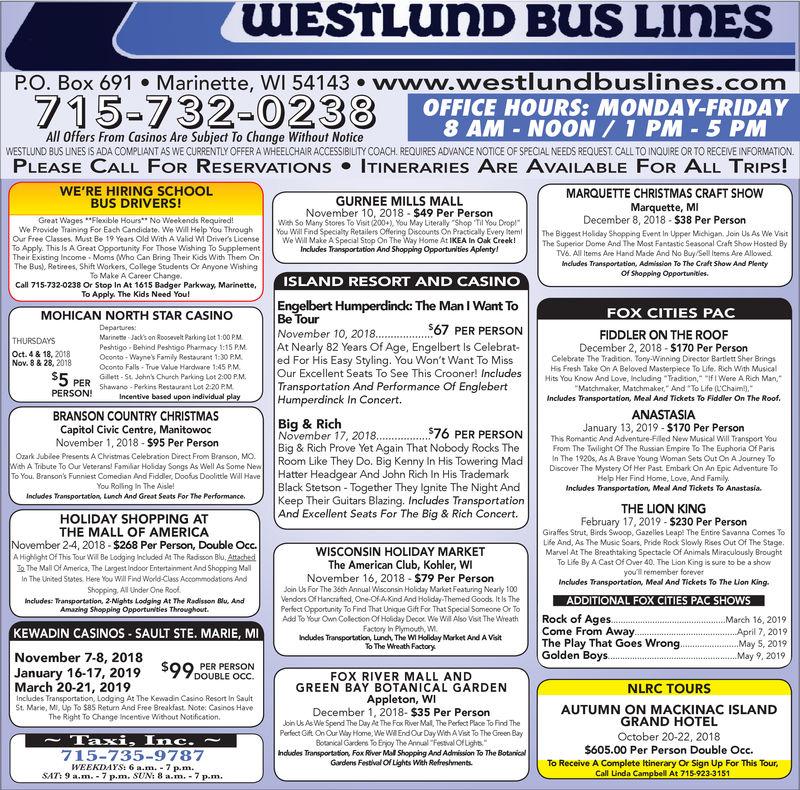 Branson Country Christmas & Veterans Show November 19, 2020 MONDAY, SEPTEMBER 24, 2018 Ad   Westlund Bus Lines Inc   EagleHerald