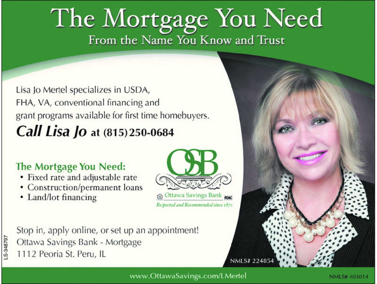 Ottawa Savings Bank - Lisa Jo Mertel - Finance - Mortgage Bankers in LaSalle IL